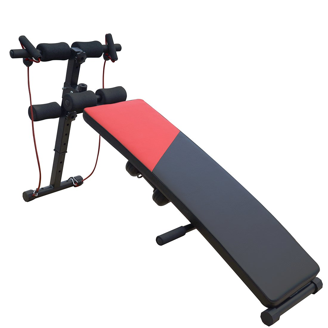 Cyber Monday Special ! Adjustable Decline Sit up Bench Ab Crunch Board with Dumbbells and a Resistance by Fitleader