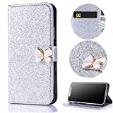 Stysen Galaxy S9 Plus Wallet Case,Shiny Silver Bookstyle with Strass Butterfly Bowknot Buckle Protective Wallet Case Cover for Samsung Galaxy S9 Plus-Butterfly,Silver