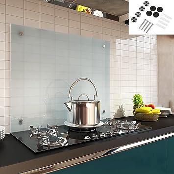 Melko Spritzschutz Herdblende aus Glas, für Küche, Herd, Fliesen, 6 mm ESG  Sicherheitsglas, Küchenrückwand, inkl. Schrauben, 90 x 50 cm, Milchglas