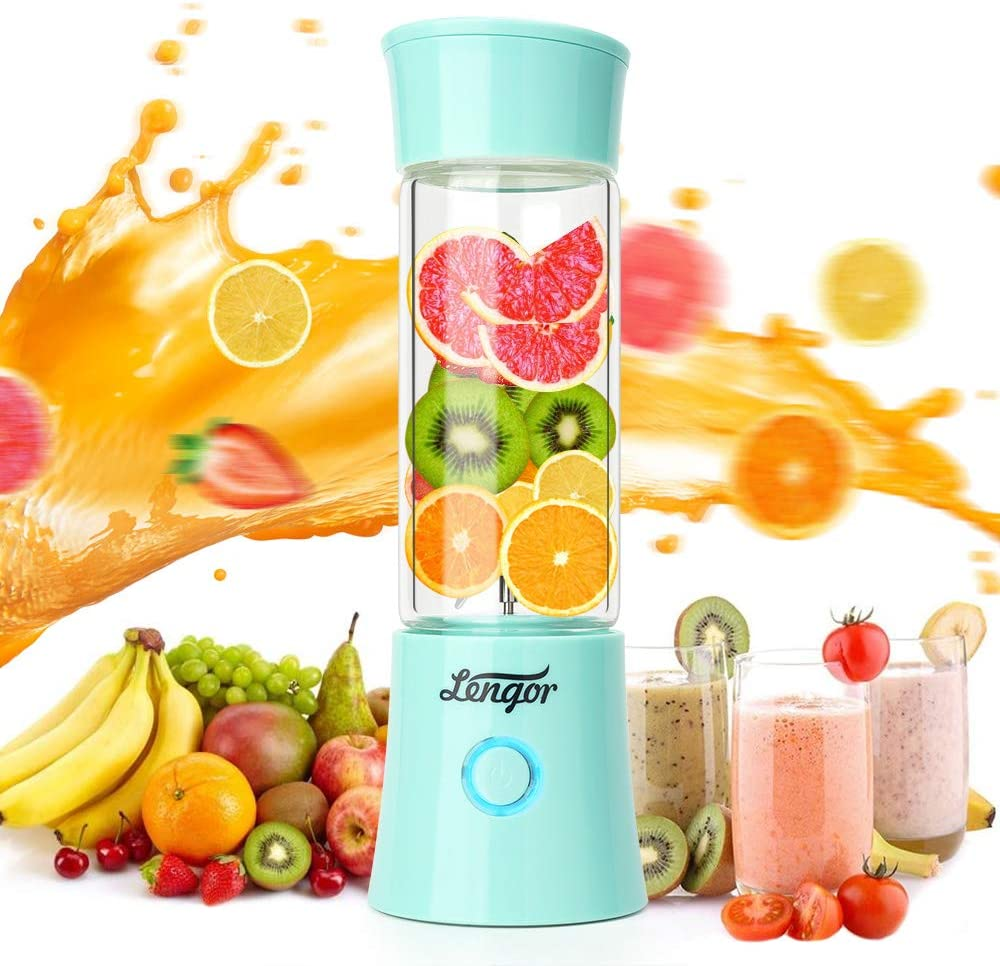 Portable Blender, 【2019 Newest】Lengor USB Rechargeable Smoothie Personal Blender Fruit Mixer Six Blades in 3D, 480ml Glass Juicer Cup with 4000mAh,Travel Blender, MINI Mixer Juicer Cup(FDA BPA Free)