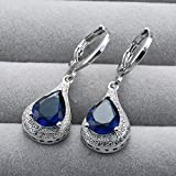 Sumanee Fashion Women 925 Silver Sapphire Stud Hoop Earrings Wedding Proposal Jewelry