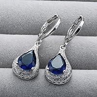 Sumanee Fashion Women 925 Silver Sapphire Stud Hoop Earrings Wedding Proposal Jewelry