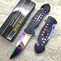 Tac-Force Rainbow Blade Spring Assisted Rescue Hunting Pocket Knife TF-509