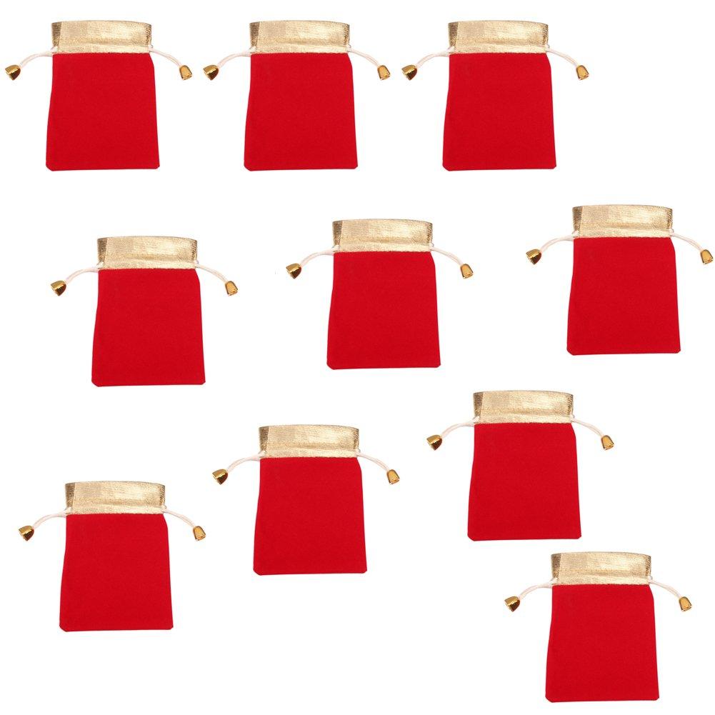 Qinlee (85*125mm)10pcs Noël Sac Tissu Sachet Pochette Noël Timbre-Poste Flanelle avec Auto-Adhésive pour Biscuit Bonbons Perles Bijoux Cadeau