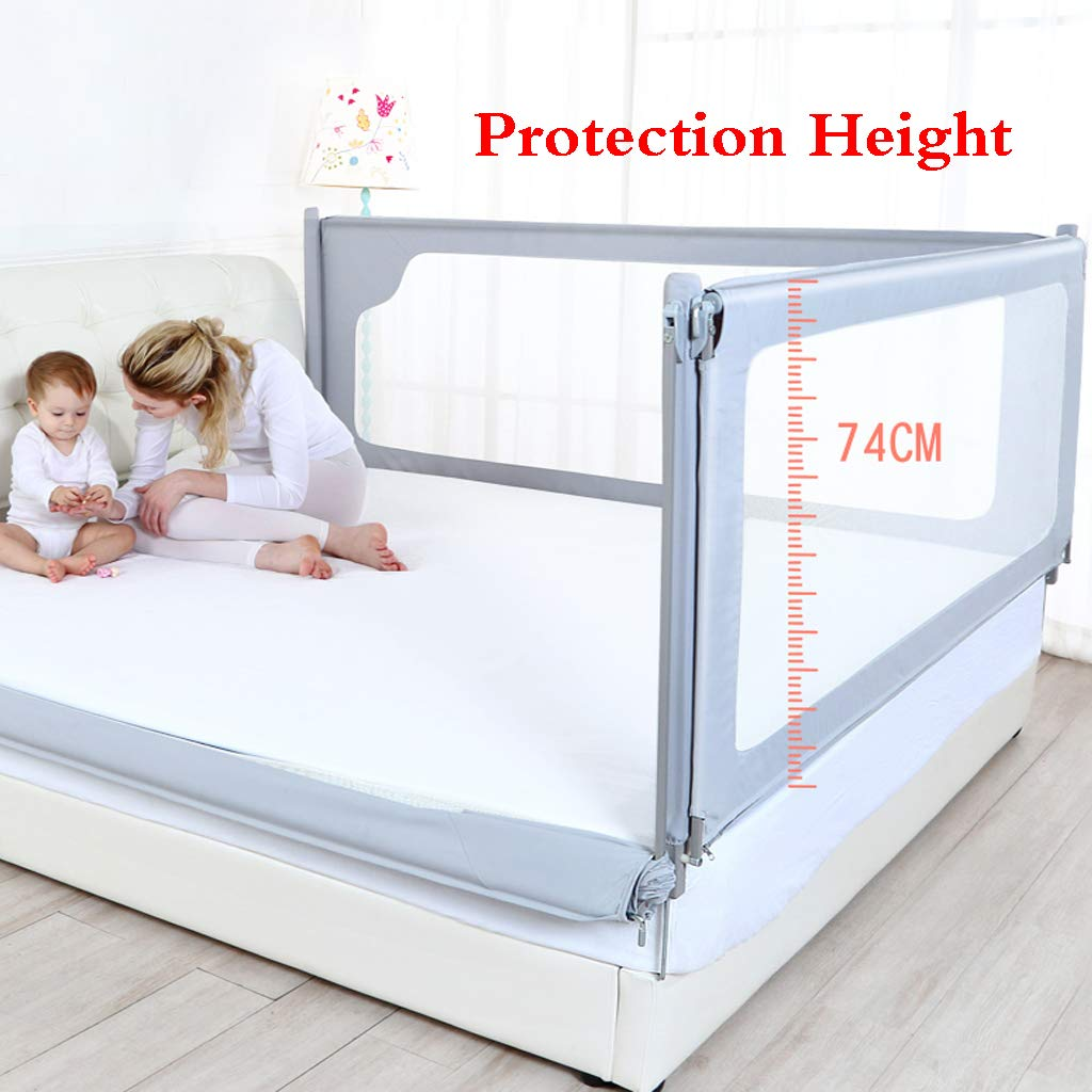 SONGTING Guardrail Kids Safety Bed Rail Bed Fence Baby Child Toddler Bed Rail Safety Breathable Child Prevention Bedside Baffle Bed Rail - Single Foldable Safety Bedrail with Ventilated Mesh for by SONGTING Guardrail (Image #2)