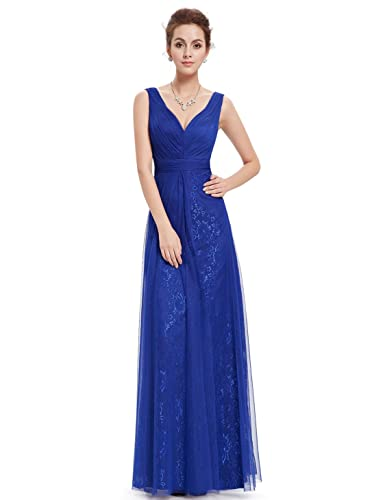 Ever Pretty Double V Neck Ruched Bust Long Evening Dress 08532