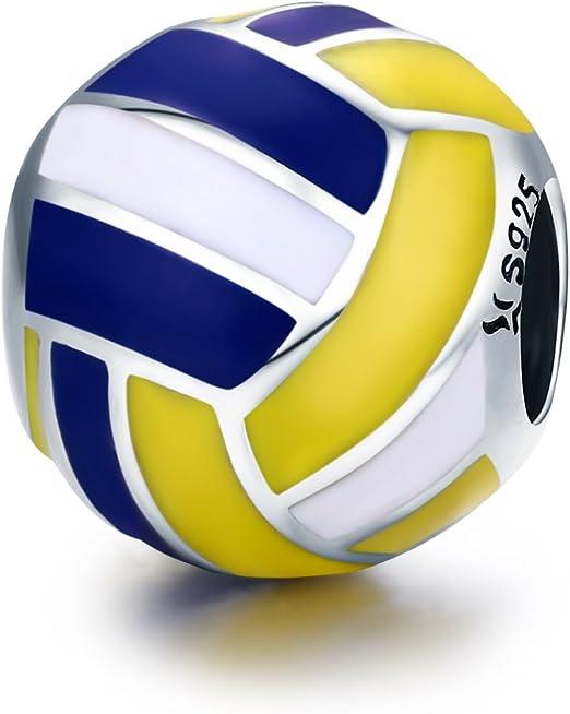 Abalorio de plata de ley 925 con diseño de pelota de voleibol ...