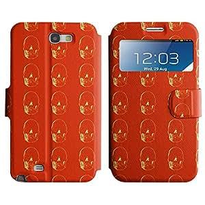 LEOCASE Vibrant Skull Funda Carcasa Cuero Tapa Case Para Samsung Galaxy Note 2 N7100 No.1002019