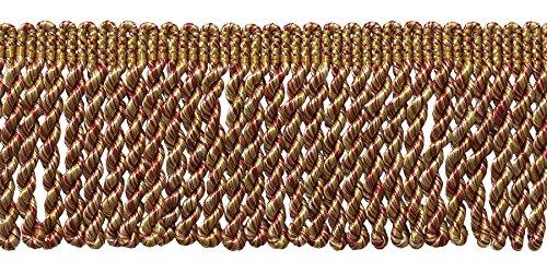 - DÉCOPRO 10 Yard Value Pack of Burgundy/Wine Gold 2.5 Inch Bullion Fringe Trim, Style# EF25 Color: 8539 (30 Ft / 9.1 Meters)