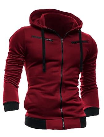 Men Full Zip Up Long Sleeve Fleece Inside Hoodie SweatshirtM (UK 40):  Amazon.co.uk: Clothing