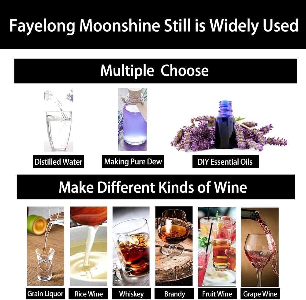FayeLong - Alambique para destilación casera - 3 recipientes, serpentín - Para la destilación de alcohol, vino, aceites esenciales, cerveza