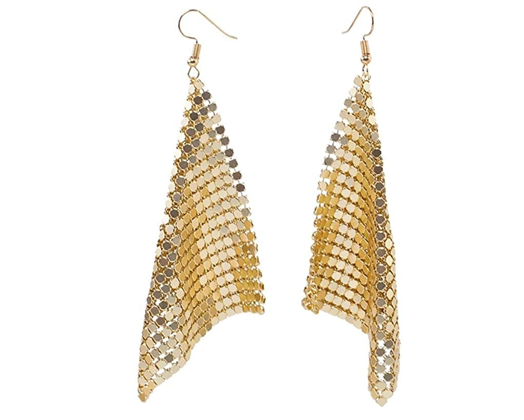 333b5c50b48a1b Amazon.com: ASKANA Women Fashion Mesh Sparkling Sequins Modern Style  Earrings + Golden Pouch: Jewelry