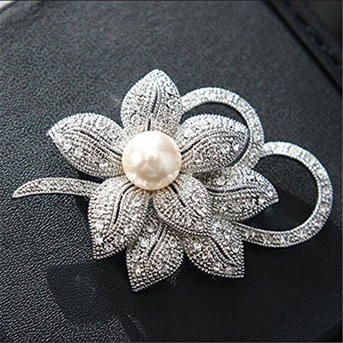 Jewby Fashionable Brooch Pins for Women Bouquet Flower Wedding Created Crystal Brooch (Silver) (Buckle Bouquet)