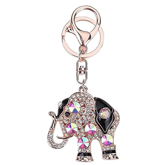 Amazon.com: Con brillantes, llavero, llavero de elefante ...