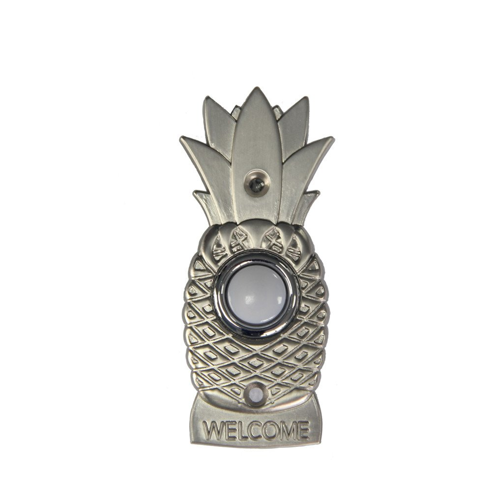Wired push button XJ1673 Pineapple lighted doorbell button in stain nickel finish