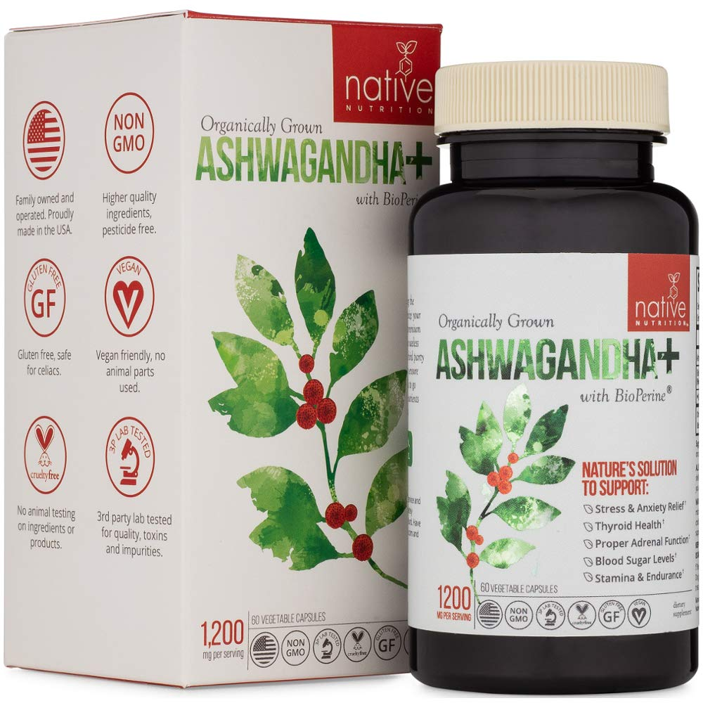 Organic Ashwagandha Root Herbal Supplement - Premium Ashwagandha Supplement for Anxiety, Stress Relief, Adrenal & Thyroid Support - with Black Pepper Extract for Max Absorption & Faster Results