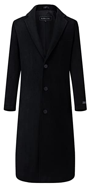 sale retailer f0bd6 932af The Platinum Tailor Herren Schwarz Lang Mantel Wolle & Kaschmir Warmer  Wintermantel mit Schwarzem Futter