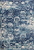 Lounge Distressed Area Rug – Vintage Rug – Living Room Rug – Kitchen Rug – Large Area Rug – Easy Clean Blue Rug – Non Slip Jute Rugs (6′.6″ X 9′.10″ | Naxos, Blue) For Sale