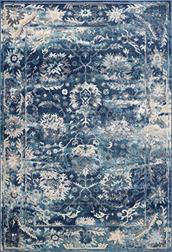 Cheap Lounge Distressed Area Rug – Vintage Rug – Living Room Rug – Kitchen Rug – Large Area Rug – Easy Clean Blue Rug -Non Slip Jute Rugs (5′.3″ X 7′.6″ | Naxos, Blue)