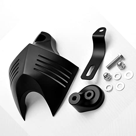 37a7ce37 Image Unavailable. Image not available for. Color: Black Aluminum Twin Horn  Cover V-Shield Cowbell + Mounting Kit For Harley Custom Motorcycle