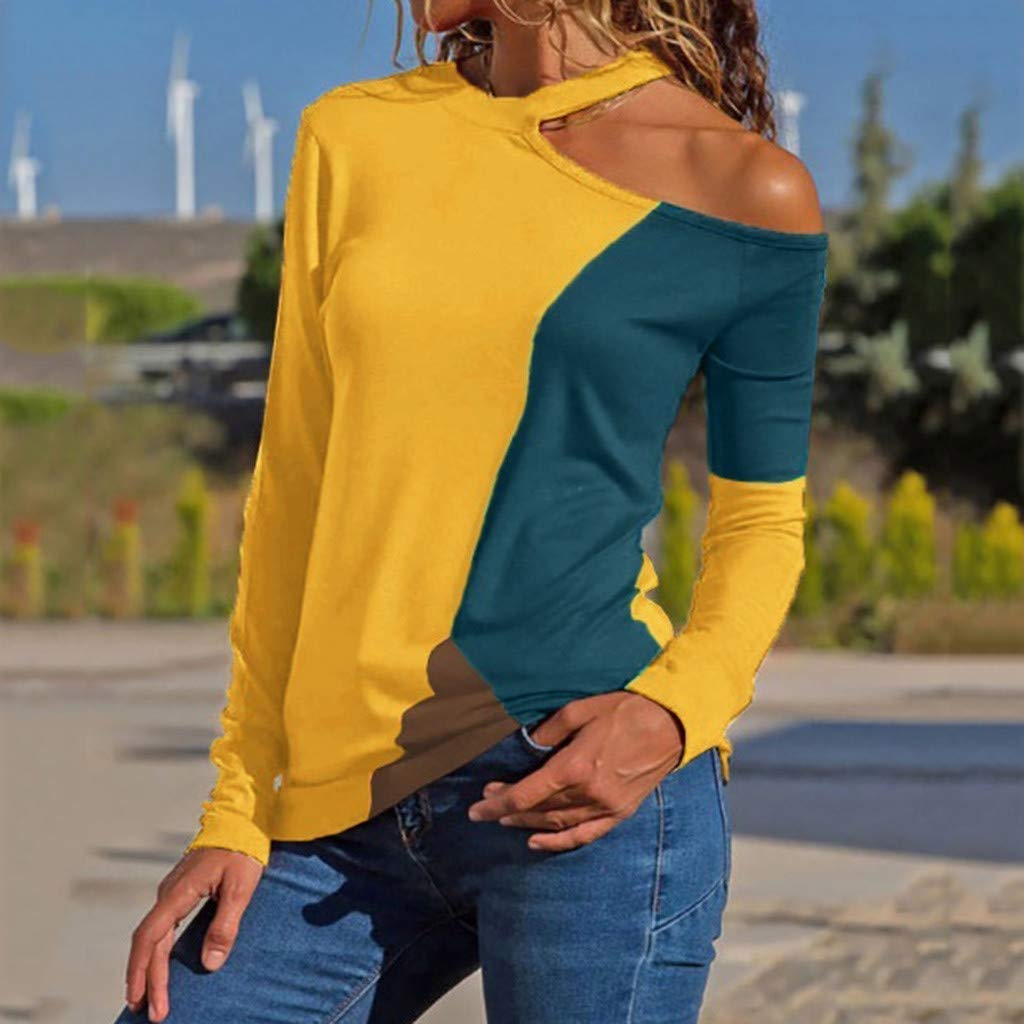 Luckycat Camisas Mujer Manga Larga Bloque de Color Casual Blusas Tops del Camisetas