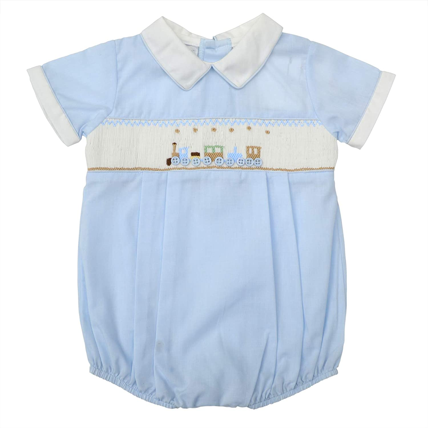 fa48986bf2fc4 Amazon.com: Carriage Boutique Baby Boys Hand Smocked Classic Creeper - Blue  Shadow Train: Clothing