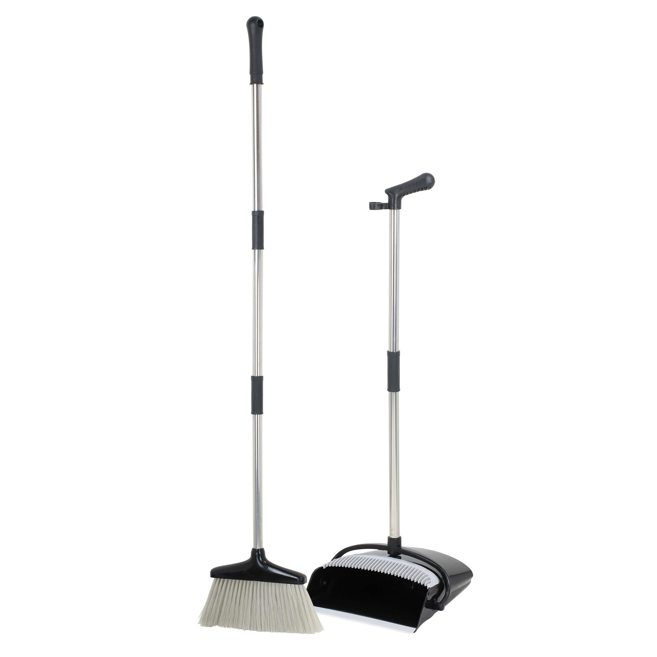 Broom and Dustpan Set Long Handle Dust Pan Stands Upright for Home Kitchen Office