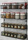 4 Tier Wall Mounted Spice Rack Storage Black, Perfect Spice Rack Organizer