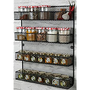 wall mounted kitchen storage rack 4 tier wall mounted spice rack storage black 8880
