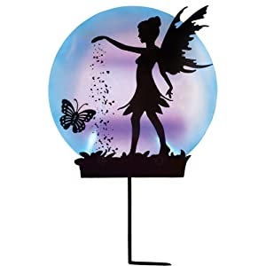 Collections Etc Solar Fairy Silhouette Garden Decor Yard Stake with Light-Up Moon - Outdoor Use with Acrylic, Metal & Plastic Materials, Black