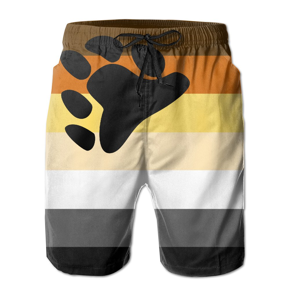 SVVOOD Mens Beachwear Swim-trunks Bear Pride Flags Surf Board Shorts Quick-drying With Telescopic Tape X-Large
