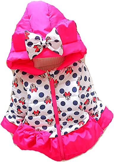 Baby Girls Kids Minnie Mouse Hoodie Jacket Coat Winter Warm Outerwear Top 1-4Y