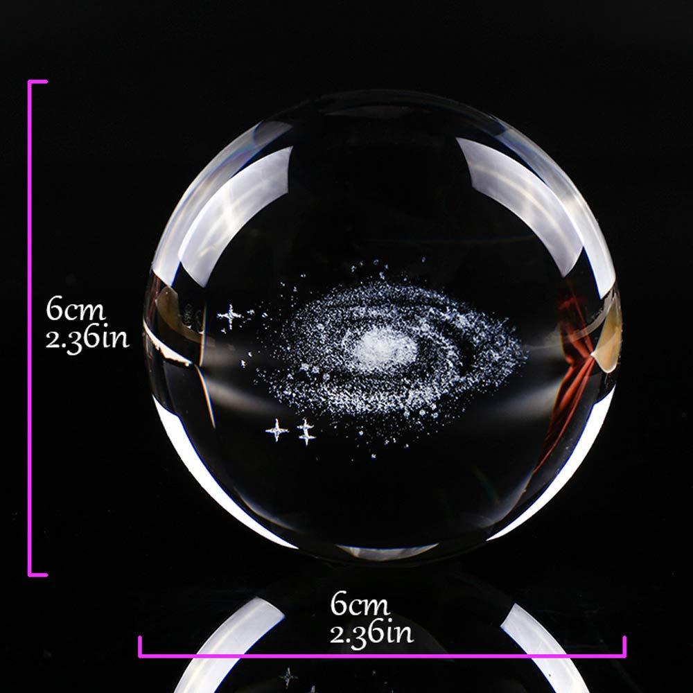 Klassenkameraden Haihuic Galaxy 3D Kristallkugel 60mm mit Standfu/ß Klares kosmisches Modell Glaskugel-Kugel Briefbeschwerer Geschenk f/ür Kinder Physiklehrer