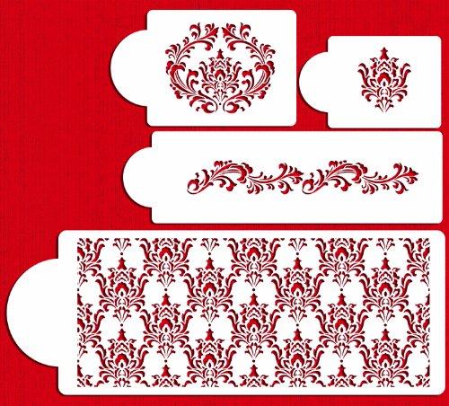 Designer Stencils C550 Filigree Damask Cake Stencil Set, Beige/semi-transparent by Designer Stencils