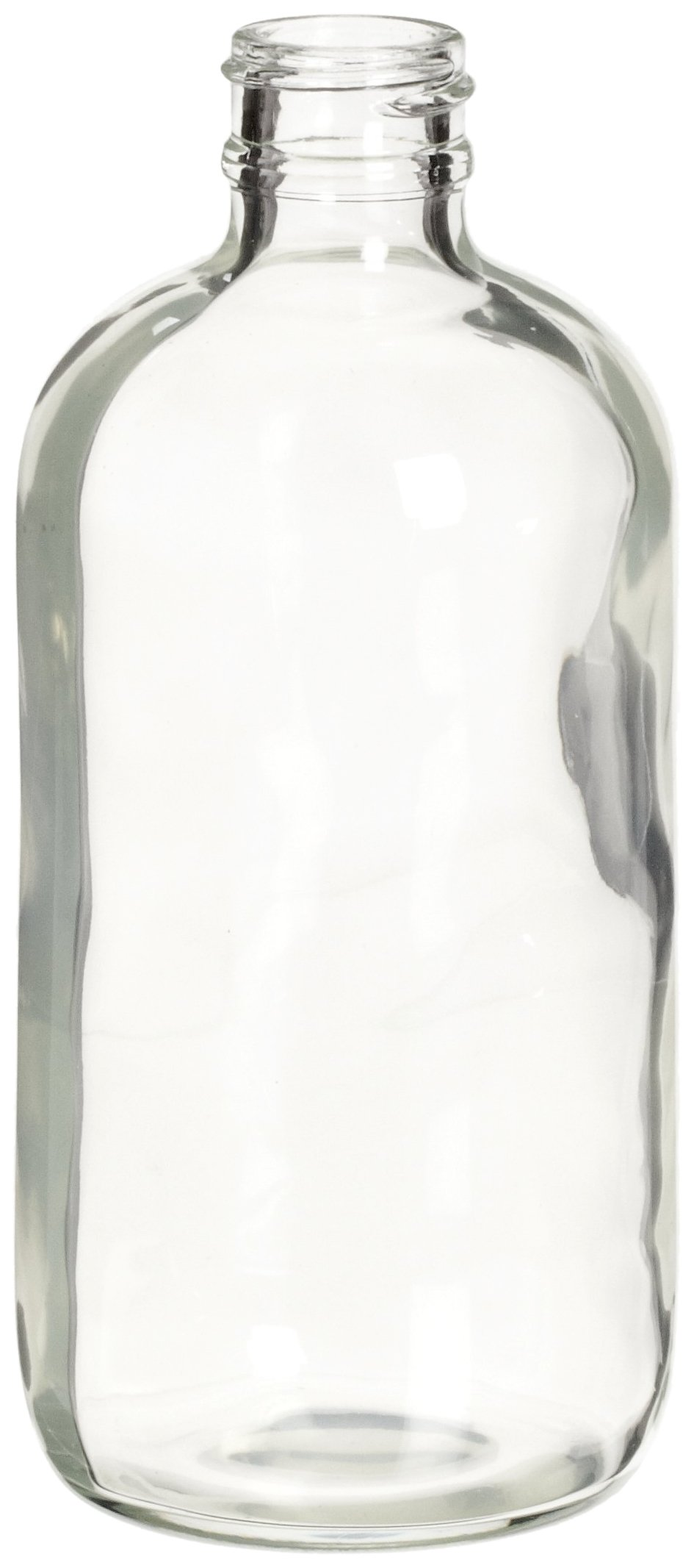 Wheaton 220724 Clear Glass Boston Round Safety Coated Bottle, 8oz, Without 24-400 Screw Cap, 62mm x 140mm (Case of 48)