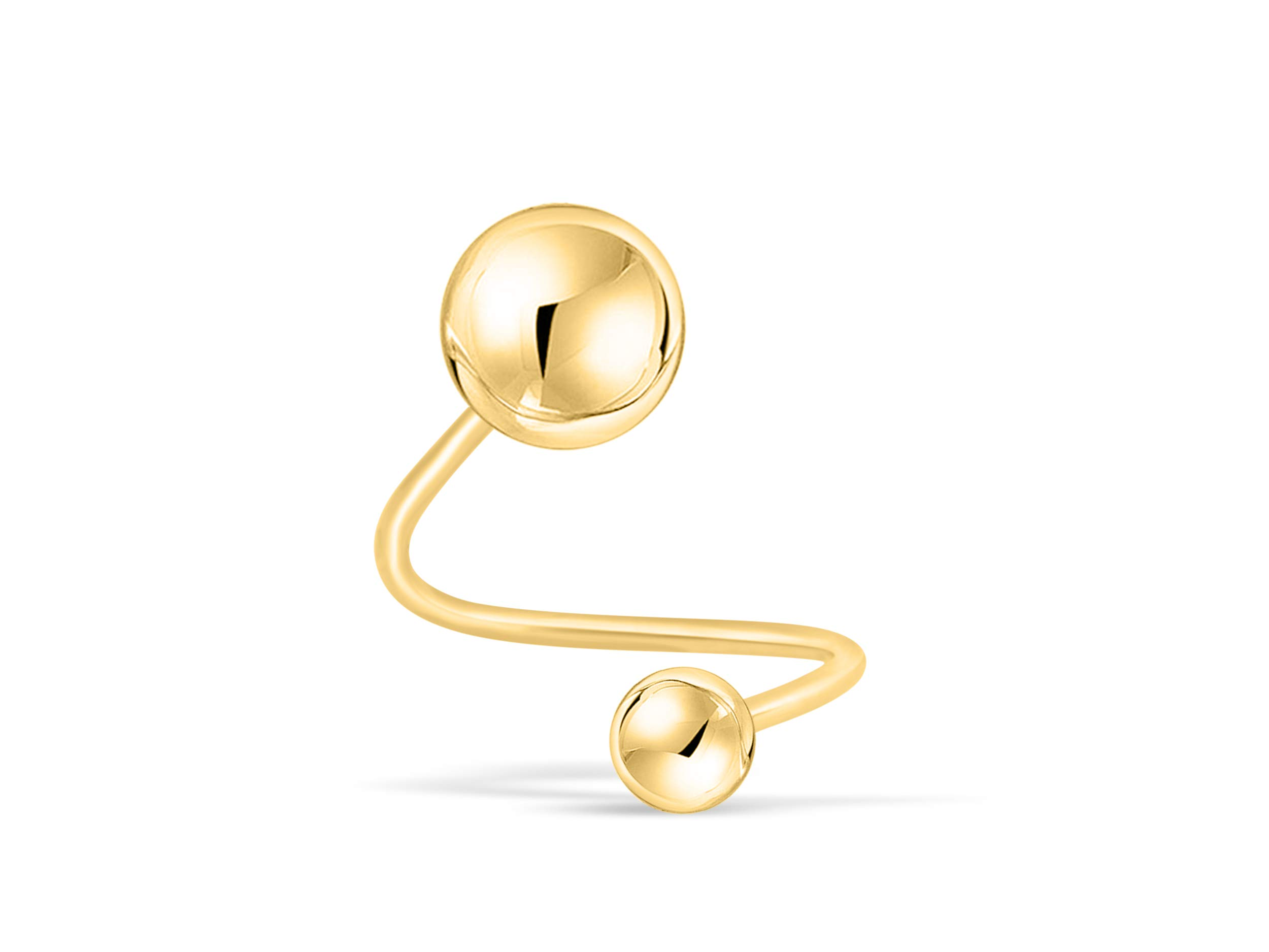 ONDAISY 14K Real Solid Yellow Gold Disco Round Ball 5mm 20g Gauge Barbell Round Ball Twist Spiral Ear Stud Earring Piercing For Women Girls