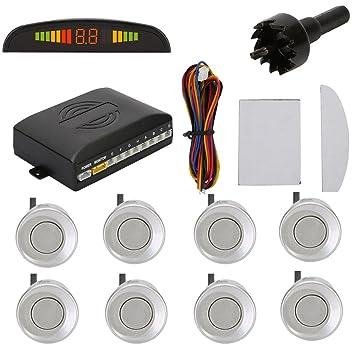 TKOOFN® Universal KFZ Radar Aparcamiento Sensor Alarma Acustica Indicador LUZ Kit LED Marcha Atras (8 Unidades Plata)