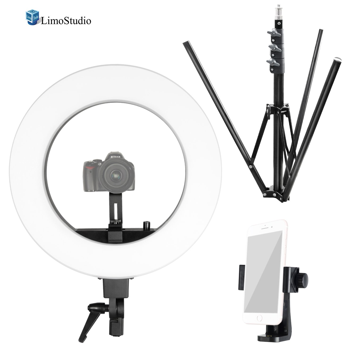 LimoStudio Round 18'' Diameter LED Ring Light with Tripod Stand, Slide Camera Mounting Adapter, Cellphone Spring Clip Holder, Dimmable Switch for Brightness Control, Photography Studio, AGG2536