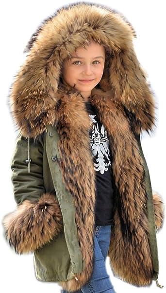 Girls Winter Faux Wool Collar Coats Warm Jacket Long Outerwear Parka Overcoat