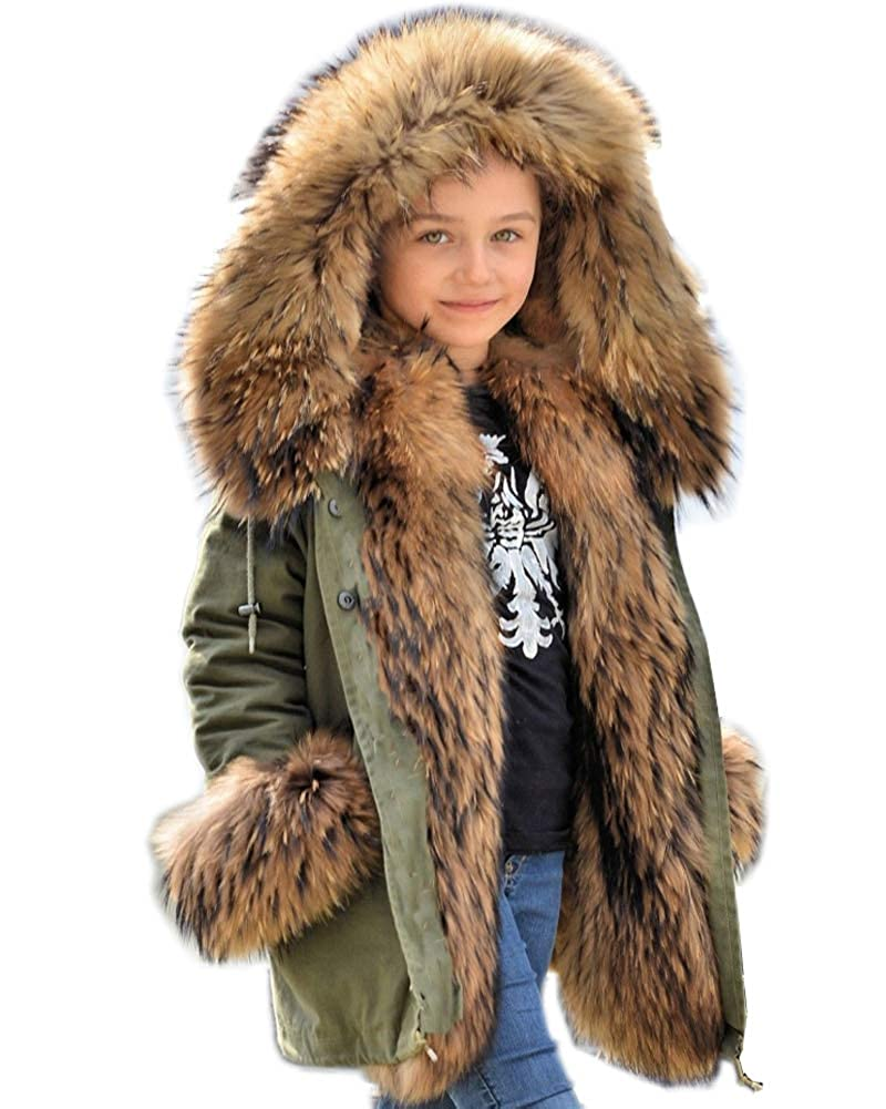 Aofur Kids Girls Boys Winter Faux Fur Fleece Warm Coat Jacket Hooded Outerwear Thick Parka Children Long Clothes AO7887