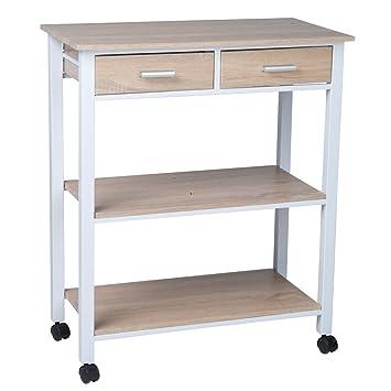 Küchenwagen 2S weiß Metall Eiche Holz Küchentrolley Schublade ...