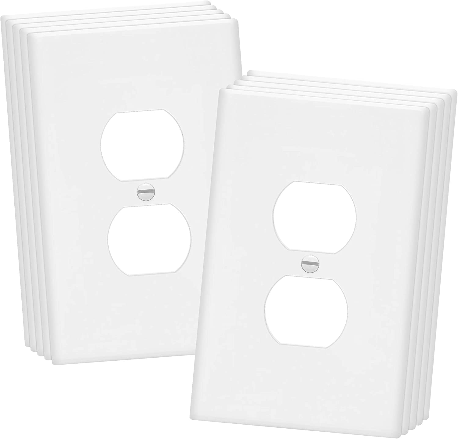 "ENERLITES Duplex Receptacle Outlet Wall Plate, Over-Size 1-Gang 5.5"" x 3.5"", Polycarbonate Thermoplastic, 8821O-W-10PCS, White (10 Pack), 10"