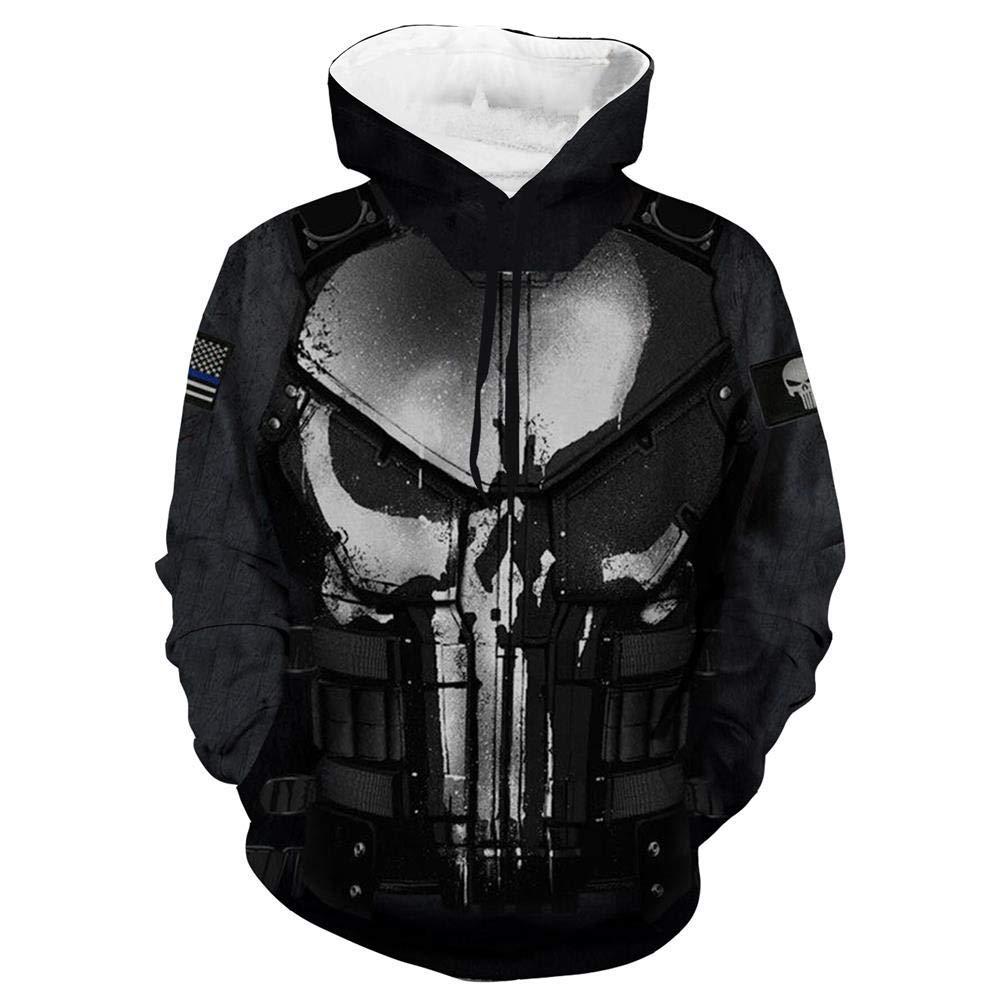 SL Schwarz XL Hoodie f/ür M/änner und Frauen f/ür Spiderman Punisher 3D Digitaldruck Beil/äufige Lose Jacke /Übersteigt Sweatshirts