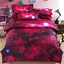 Ammybeddings 4 Piece Red Full Duvet Cover with 2 Pillow Shams and 1 Sheet,3D Charming Galaxy Print Bedding Sets Twin/Full/Queen/King,Green/Red/Blue,Soft Stylish Home Decor Duvet Cover Set