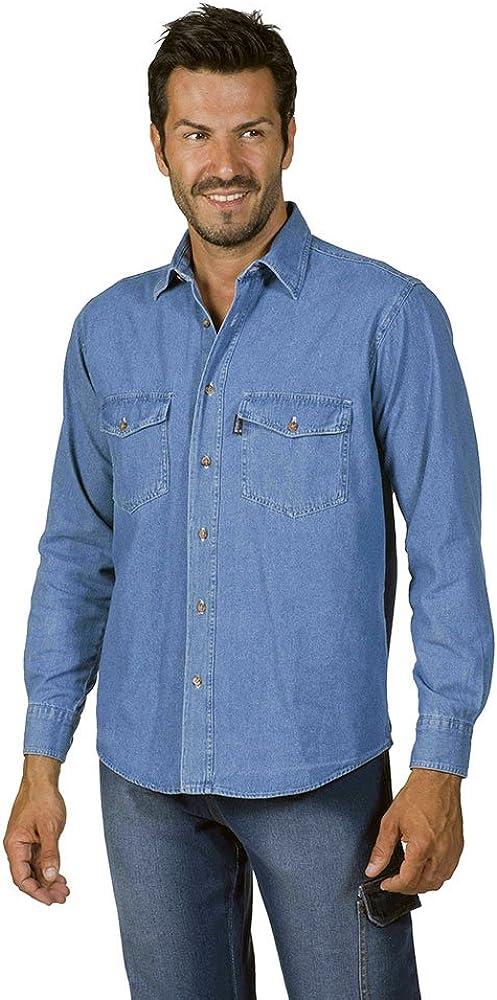 LOGICA 8165 Camicia Uomo Cotone Leggero Jeans Slavato Manica Lunga Tasche Frontali Bottoni Antinfortunistica DPI Abbigliamento Lavoro