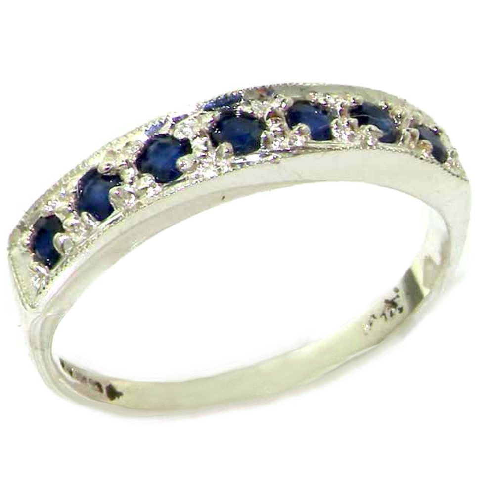 925 Sterling Silver Natural Sapphire Womens Band Ring - Sizes 4 to 12 Available