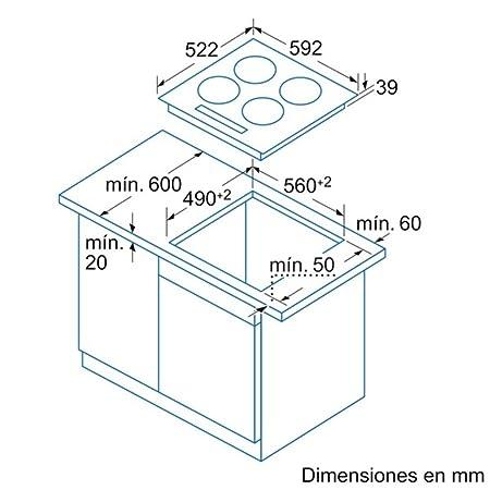 Balay 3EB716LQ - Placa Vitrocerámica 3Eb716Lq Con 1 Zona Extra Gigante De 32 Cm.