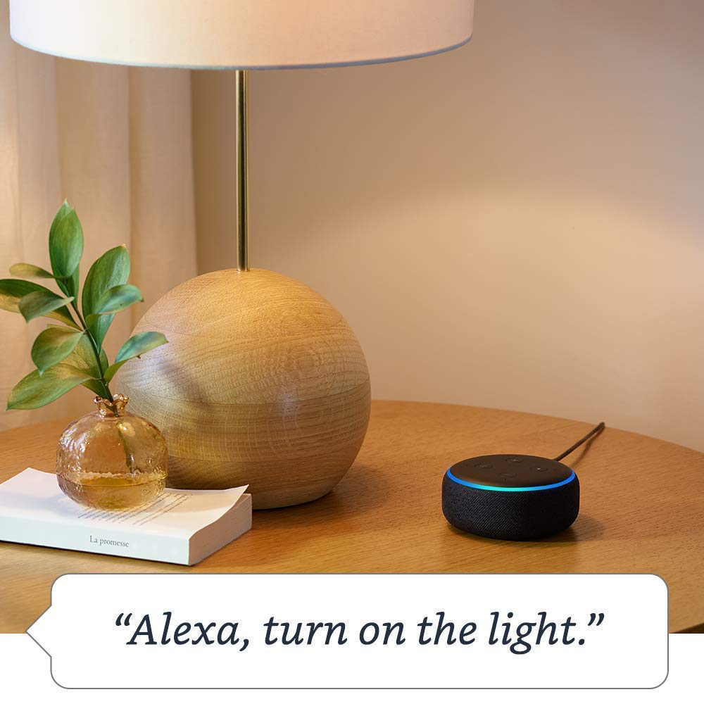 Echo Dot (3rd Gen) - Charcoal with Philips Hue White Smart Light Bulb Starter Kit (All US Residents) by Amazon (Image #4)