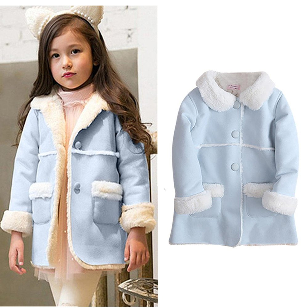 Franterd Baby Girls Winter Jacket Fur Collar Solid Warm Winter Thickening Fur Inside Coats (Blue, 3T) by Franterd (Image #1)