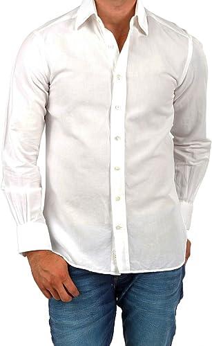 Café Coton Camisa de Lino para Hombre, Color: Blanco: Amazon.es: Ropa y accesorios